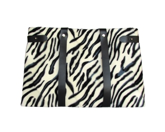 Faux white tiger fur fabric tote bag with black leather straps and black satin lining. Six internal pockets. by misp https://www.etsy.com/listing/207746837/