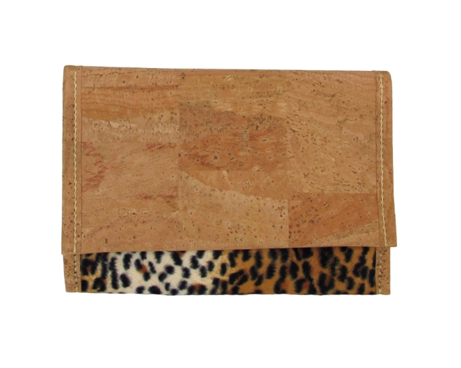 Hand stitched cork and faux feline fur pattern fabric clutch with cork lining. by misp (403) https://www.etsy.com/listing/211415834