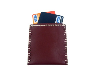 Bordeaux leather card wallet, hand stitched with white thread. By misp Workshop (267) https://www.etsy.com/listing/221222486/
