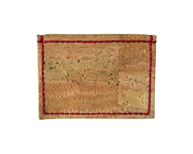 Cork card wallet, hand stitched with red waxed thread. By misp Workshop (289) https://www.etsy.com/listing/221102909/